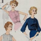 Vogue 9725 50s Set of Tucked Front BLOUSES Vintage Sewing Pattern
