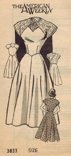 American Weekly 3833 40s Mail Order DRESS Vintage Sewing Pattern