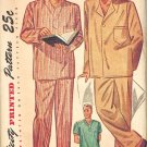 Simplicity 2207 40s Fabulous Men's Drawstring Waist PAJAMAS 2 lengths Vintage Sewing Pattern