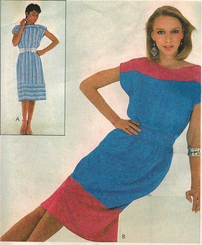 McCall's 8048 80s Kimono Sleeve DRESS & BELT Vintage Sewing Pattern