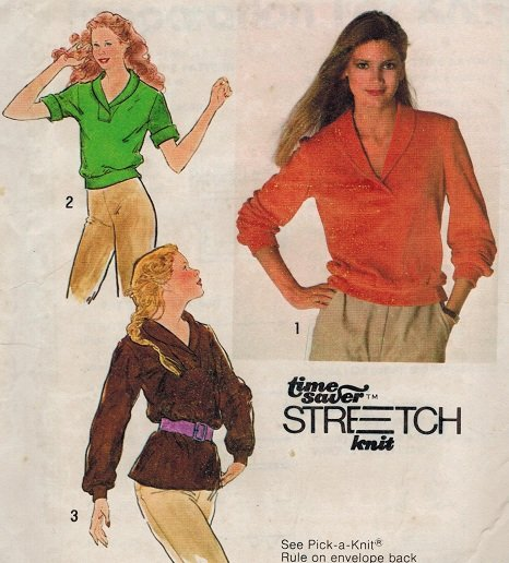 Simplicity 9264 70s Shawl Collar Pullover TOPS Vintage Sewing Pattern
