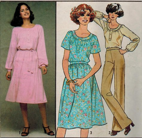Simplicity 8412 70s Pullover DRESS or TOP & SKIRT Vintage Sewing Pattern