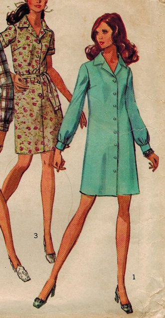 Simplicity 8294 60s Spiffy SHIRT DRESS Vintage Sewing Pattern