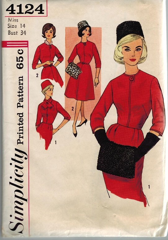 Simplicity 4124 60s Uncut Sensational DRESS, HAT, SCARF & MUFF Vintage Sewing Pattern