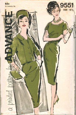 Advance 9551 60s *UNCUT Half Size DRESS & JACKET with Notched Neckline Vintage Sewing Pattern