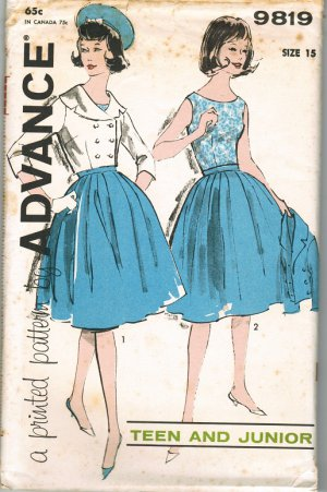 Advance 9819 60s *UNCUT Junior Full SKIRT, BLOUSE & JACKET Vintage Sewing Pattern