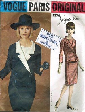 Vogue 1376 60s Paris Original Jacques Heim Faux Suit Coat DRESS Vintage Sewing Pattern With Label