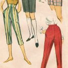 Simplicity 2996 50s Skinny Tapered Mini SHORTS Capri Stovepipe PANTS Vintage Sewing Pattern