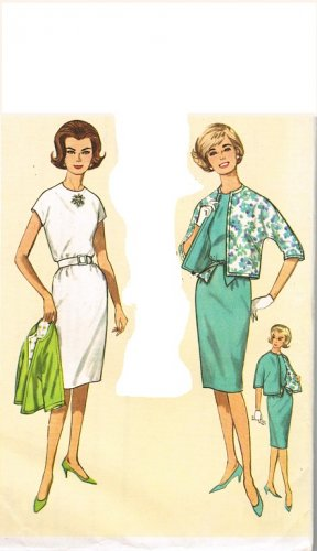 "Simplicity 4897 60s ""Jiffy"" DRESS and JACKET Vintage Sewing Pattern Sz 16 B36"