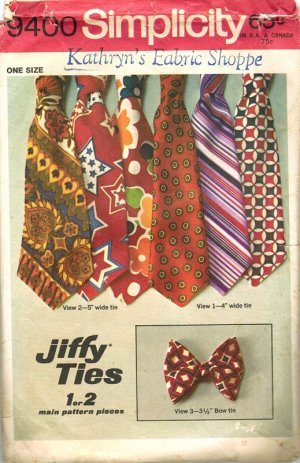 """Simplicity 9400 Early 70s Men's TIES and BOW TIE """"Jiffy"""" Vintage Sewing Pattern"""