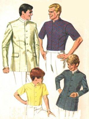 McCall's 9484 Vintage 60s UNCUT Men's NEHRU JACKET or shirt Sewing Pattern