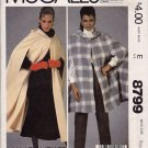 McCall's 8799 80s UNCUT Vintage Nancy Heller CAPE Sewing Pattern in Two Lengths
