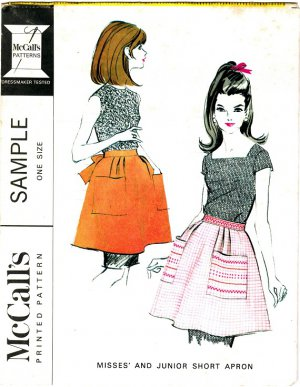 McCall's Vintage 60s Uncut Mad Men Hostess APRON Sample Sewing Pattern Half Apron