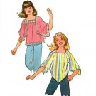"Simplicity 7831 Vintage 70s UNCUT Hip Girls' ""Jiffy"" Handkerchief Hem TOPS Sewing Pattern"