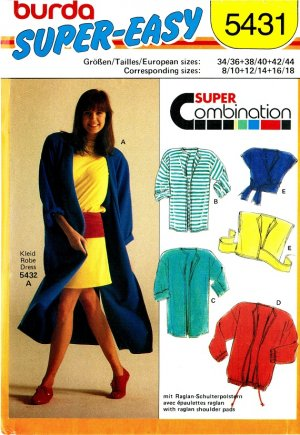 Burda 5431 Vintage 80s Raglan Sleeve COAT, JACKET & Wrap TOP Sewing Pattern