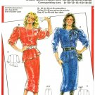 Burda 6205 Vintage 80s Asymmetrical Peplum BLOUSE and Slim SKIRT Suit Dress Sewing Pattern