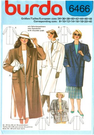 Burda 6466 Vintage 80s Chesterfield Style Midi COAT or Jacket Length Sewing Pattern