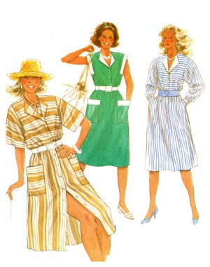 Burda 6623 Vintage 80s Italian Collar Cinch Waist DRESS in 3 Versions Sewing Pattern