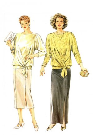 "Burda 6700 Vintage 80s ""Mother of the Bride"" Evening Length SKIRT and Pullover TOP Sewing Pattern"