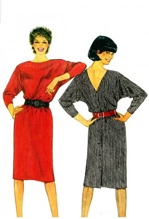 Burda 7118 Vintage 80s Low Back V Neck Pullover DRESSES Sewing Pattern
