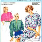 Burda 6865 Vintage 80s Collarless DRESS & BLOUSE with Shoulder Pleats Sewing Pattern