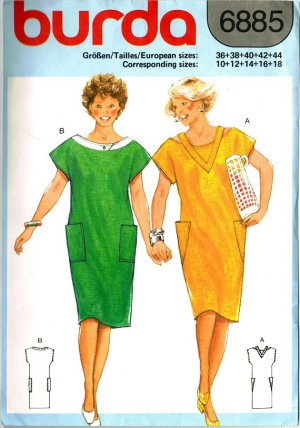 Burda 6885 Vintage 80s Sheath DRESS with Kimono Sleeves & Cut-Out Neckline Sewing Pattern
