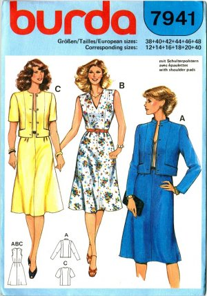 Burda 7941 Vintage 80s Lovely Sleeveless Suit DRESS and JACKET Sewing Pattern
