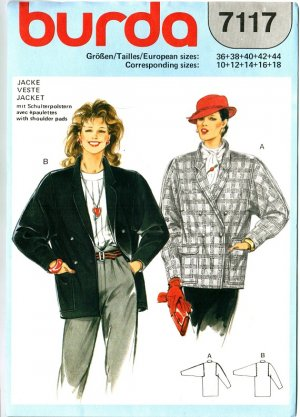 Burda 7117 Vintage 80s Fabulous Set of JACKETS Sewing Pattern
