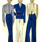 Simplicity 1210 Vintage 30s Tuxedo Style JACKET, PANTS, BLOUSE & VEST Sewing Pattern - Very Rare