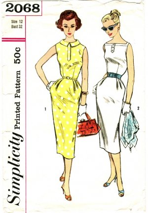 Simplicity 2068 Vintage 50s Sleeveless Sheath Wiggle DRESS with Neckline Variations Sewing Pattern