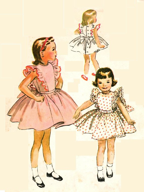 McCall's 4066 Vintage 50s Little Girls Party Dress with ...50s Little Girl Hairstyles