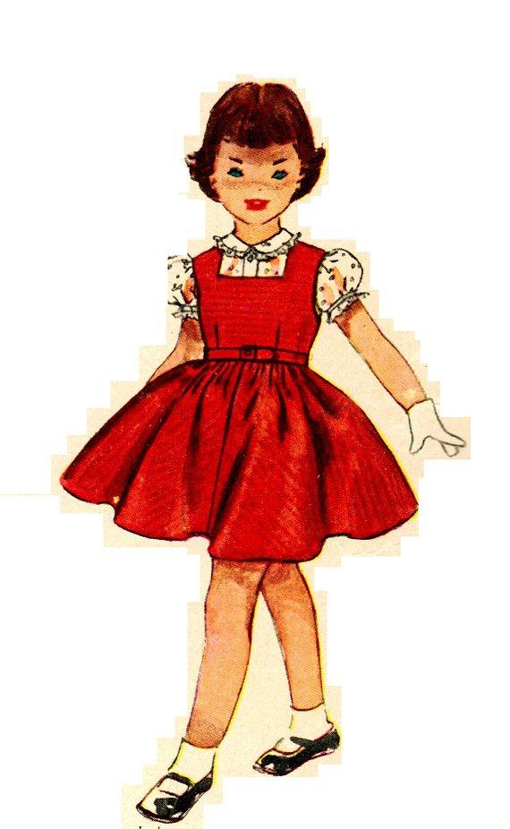 Simplicity 4407 Vintage 50s Square Neck Jumper dress and Blouse with Peter Pan Collar Sewing Pattern