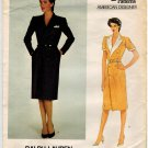 Vogue 2839 Vintage 80s UNCUT American Designer Ralph Lauren Dress Sewing Pattern Size 12 B 34
