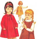 Butterick 3196 Vintage 60s Girls Dress or Jumper with Patch Pockets Sewing Pattern