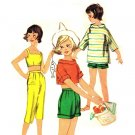Simplicity 2101 Vintage 50s Girls' Capris, Bra Top & Stand Away Collar Pullover Top Sewing Pattern