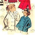 Butterick 9522 Vintage 50s Girls' Pea Coat or Single Breasted JACKET (Hood optional) Sewing Pattern