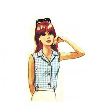 Simplicity 7458 Vintage 60s Juniors Set of Blouses, Bermuda Collar, Summer Sewing Pattern