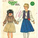 Butterick 6368 Vintage 70s Girls' Peasant Blouse and Skirt & Vest Sewing Pattern