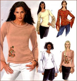 McCall's 4303 UNCUT Misses' Bell Sleeve Tops with Trim Options Sewing Pattern - Stretch Knits