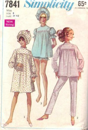 Simplicity 7841 UNCUT Vintage 60s Misses Baby Doll Pajamas, Nightgowns and Curler Cap Sewing Pattern