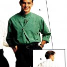 Burda 5605 Vintage 80s UNCUT & FF Mens Standing Collar Shirt Sewing Pattern
