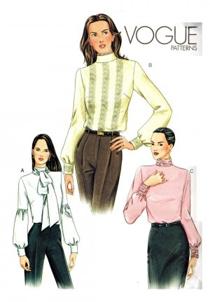 Vogue 7604 UNCUT Lovely Misses Blouses Sewing Pattern Size 8, 10, 12
