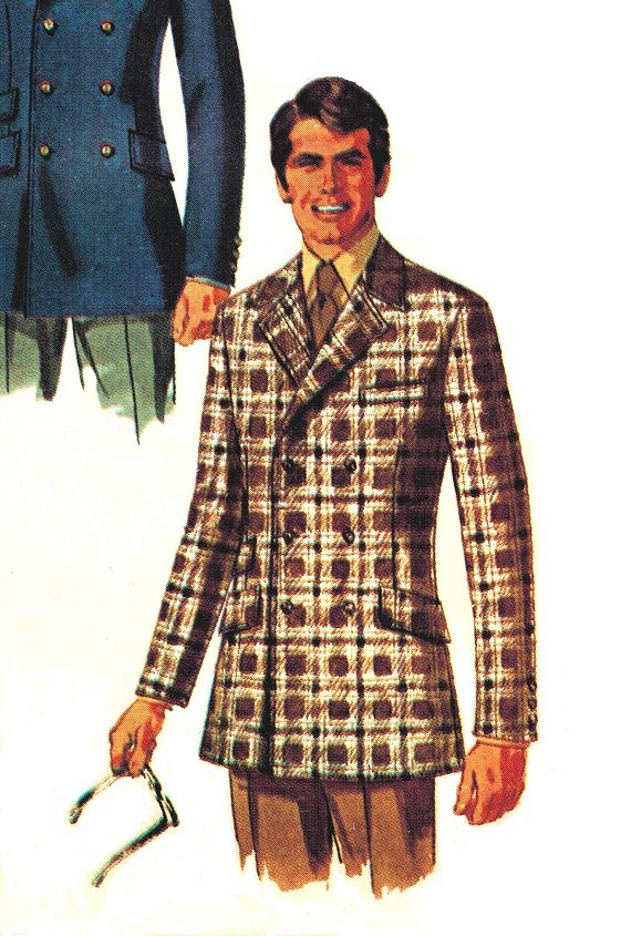 1900b25f443a1 Simplicity 8469 Vintage 60s UNCUT Mens Double Breasted Fitted Jacket w/back  vent Sewing Pattern