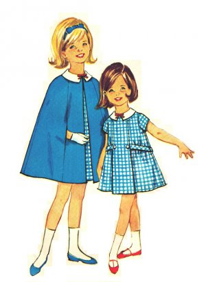 Simplicity 5477 Vintage 60s Little Girls' Cape and Sweet Dress Sewing Pattern