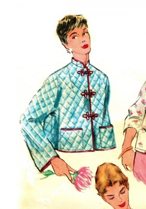 Advance 4935 Vintage 50s Bed Jackets Asian, Mandarin Collar Quilted Fabric Sewing Pattern Bust 38