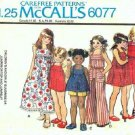 McCall's 6077 70s UNCUT Girl's Sun Dress or Jumper or Top and Jumpsuit Size 4
