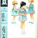 McCall's 8195 Vintage 60s Adorable Little Girls Sundress Party Dress Empire Yoke Size 6