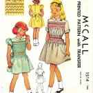 McCall 1514 Vintage 40s Lovely Girls Smocked Dress with Smocking Transfer Size 8