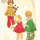 Simplicity 5872 Vintage 70s Toddler Girls Dress Top & Pants Ruffled Armholes Sewing Pattern Size 1