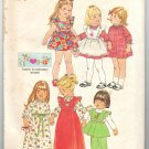 Simplicity 7197 UNCUT Vintage 70s Toddler Girls Pinafore Dress Top Pants Sewing Pattern Size 2